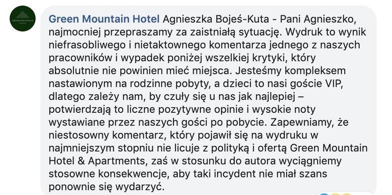 """Paragon z hotelu Green Mountain w Karpaczu - """"Dopłata za bachora"""""""