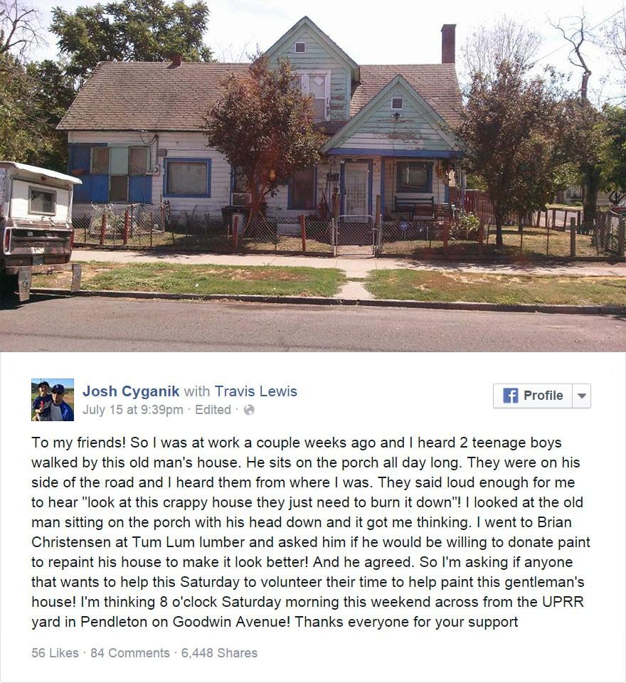 Facet usłyszał, jak nastolatki kpią z domu 75-letniego staruszka. To co zrobił zapiera dech w piersiach
