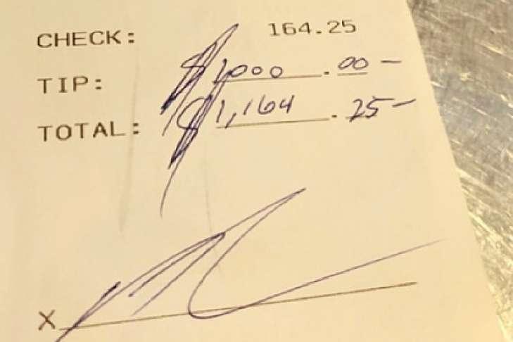 Sportowiec-milioner uszczęśliwił kelnerkę napiwkiem